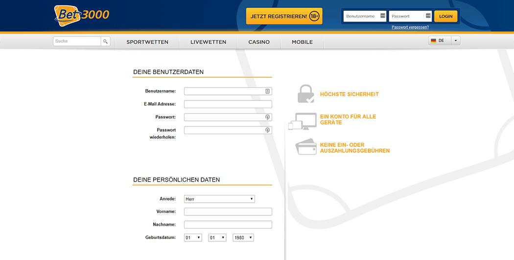 Das Bet3000 Registrierungsformular