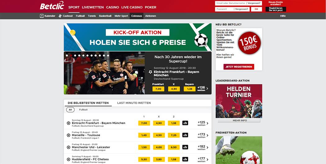 Der Screenshot der BetClic Webseite