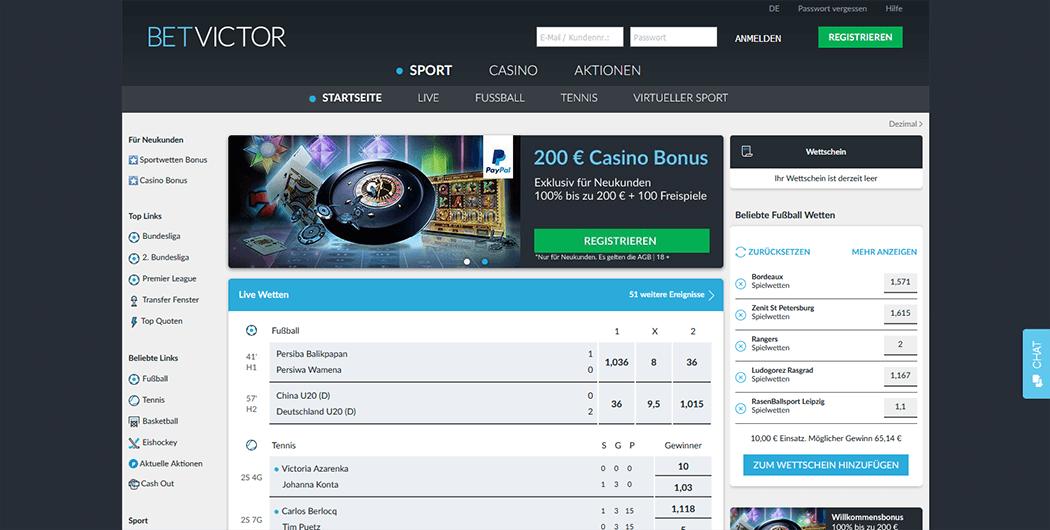 Ein Bild der BetVictor Webseite