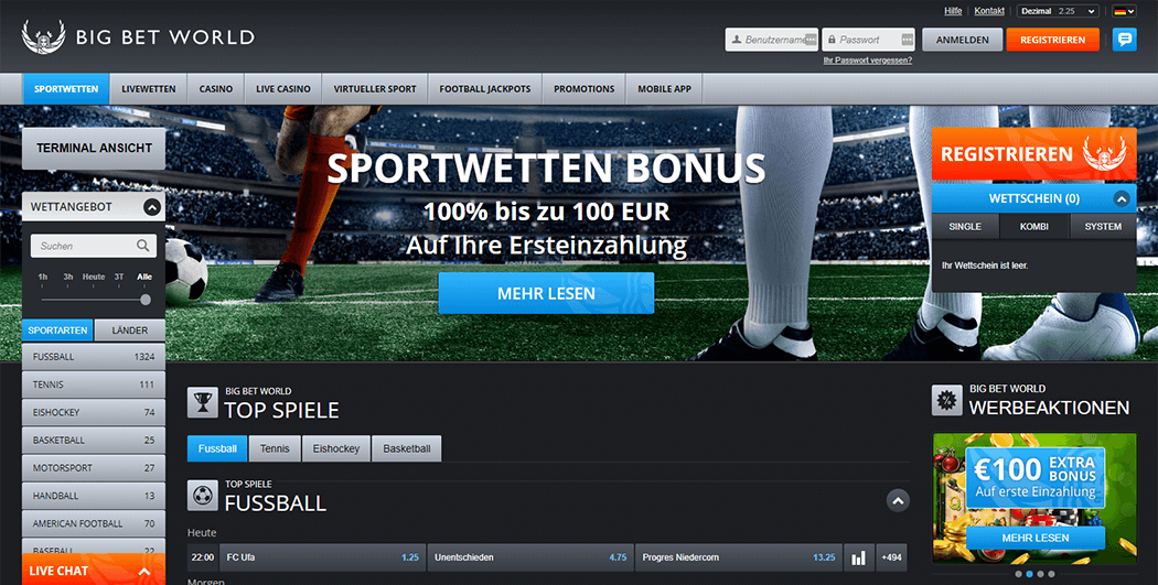 Die Big Bet World Webseite