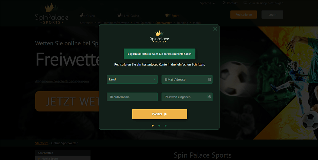 Spin Palace Sports Anmeldemaske