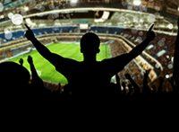 Hier ist ein Fan im Fußballstadion zu sehen
