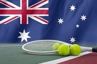 Australische Flagge, Tennisschläger, drei Tennisbälle