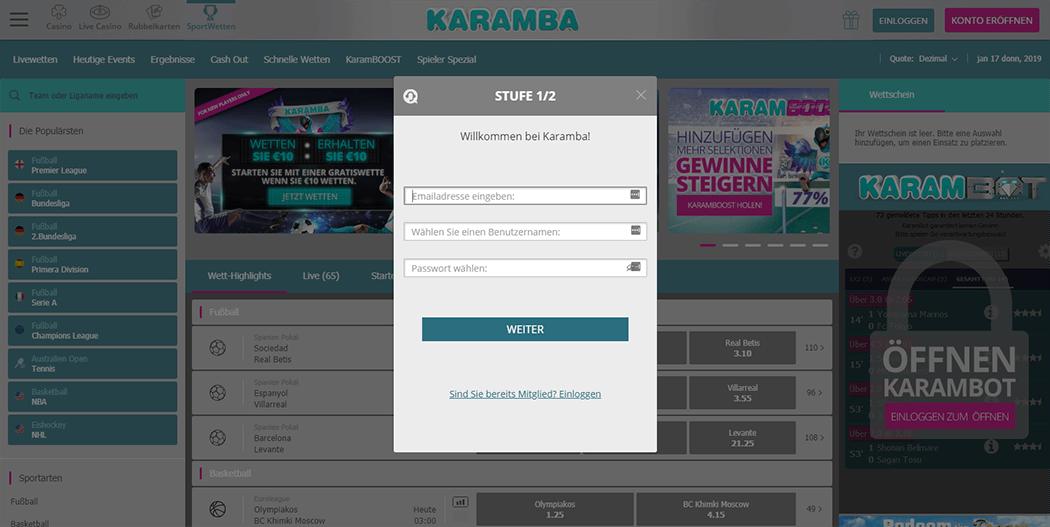Anmeldeformular von Karamba Sports