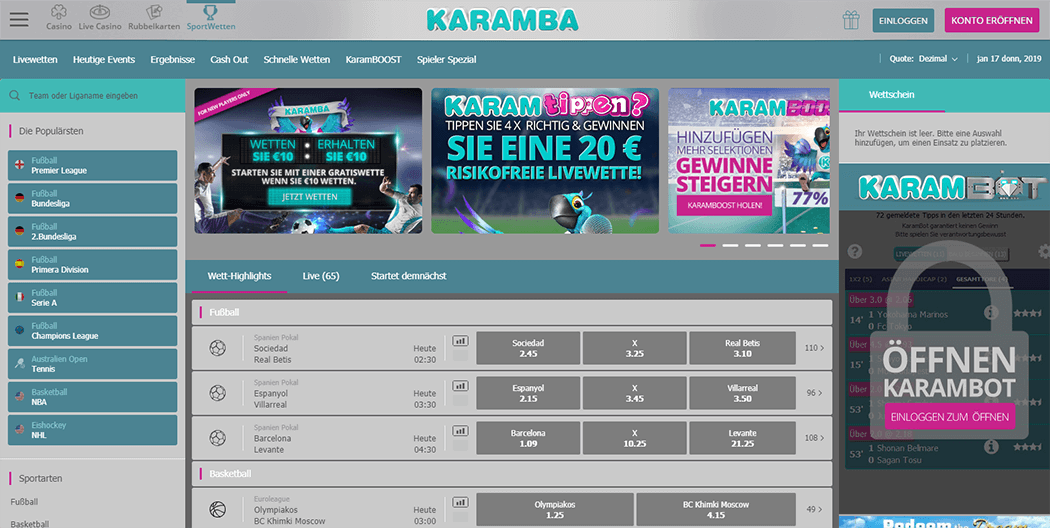 Die Karamba Sports Plattform