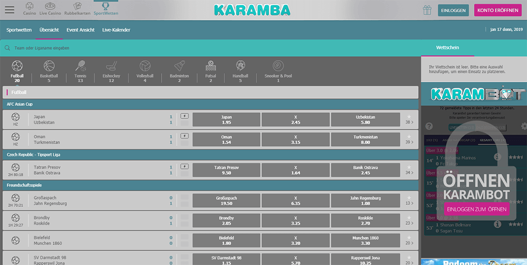 Karamba Sports Quoten Screenshot