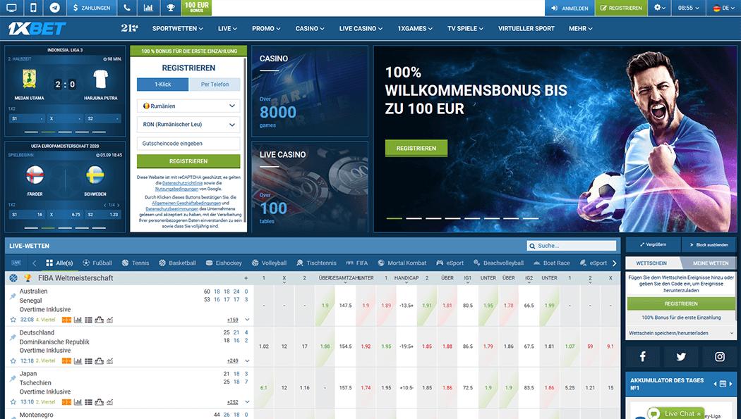 Screenshot der 1XBet Plattform