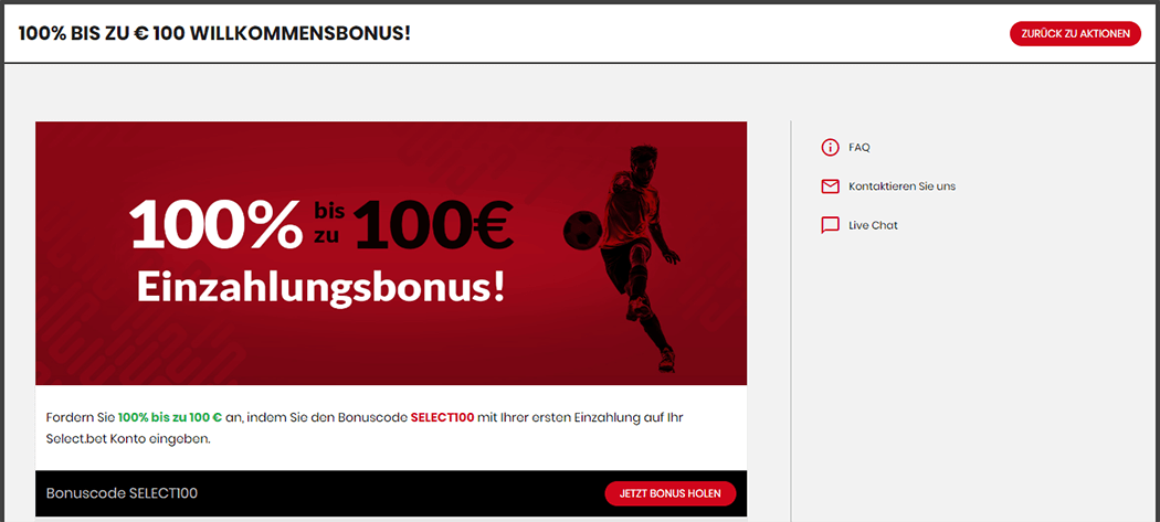 Selectbet Angebot Screenshot