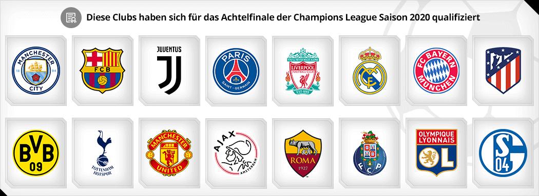 Logos der Teams, die es in das Achtelfinale der Champions League Saison 2018/2019 geschafft haben_1